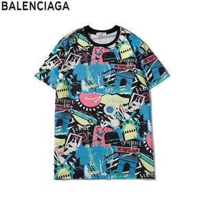럭셔리 유럽 파리 자수 대비 패치 워크 t- 셔츠 패션 남성 잉글랜드 런던 클래식 T 셔츠 캐주얼 남성 의류 코튼 티 bp36