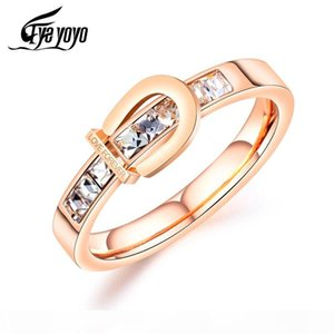 EyeYoYo Love Forever Zircon Personality Wedding Ring For Women Rose Gold Rings #6-8