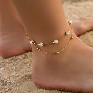 Çift Zirkon Topu Kristal Halhal Yılan Kemik Halhal Moda Halhal Barefoot Tığ Sandalet Ayak Takı Halhallar Ayak Bilezik