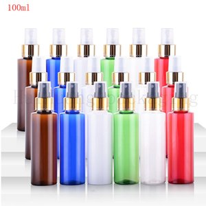 50pcs / lot Perfume 100ml de plástico PET ámbar atomizador collar de oro botella del aerosol cosmético líquido Negro Tapa 100cc maquillaje Vacío Pot