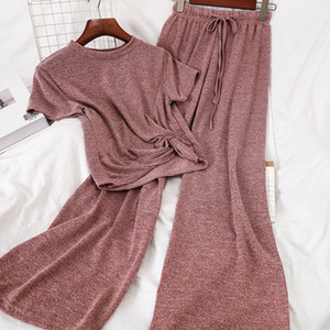 DEAT 2020 Summer Women Two Piece Set Korean Casual Drawstring Short T-shirt Tops High-waisted Wide-Leg Casual Knitted Suit MI986 CX200701