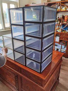 صندوق تخزين ملونة سميكة الأحذية الوجه شفاف حذاء درج حالة من البلاستيك صناديق تكويم صندوق مربع تخزين الأحذية تخزين 6 مجموعات