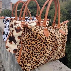 Леопард корова выходные сумка большой емкости путешествия тотализатор ручки спорт йога хранения сумки материнства мешок мех сумки выходные 17 дюймов RRA3164