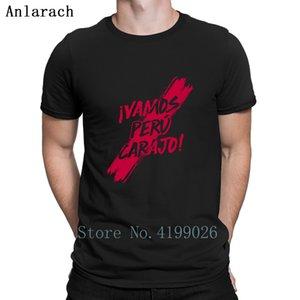 Tops cómodo de la camiseta de Vamos Perú Carajo camisetas normales de verano marca personalizada de los hombres de algodón unisex Anlarach