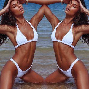 Pure Color Frauen-Bikini-Satz 2018 Sommer-Verband-Push-up-Badeanzug der heißen Verkaufs brasilianischen Low Waist Triangle Swimwear Maillot De Bain