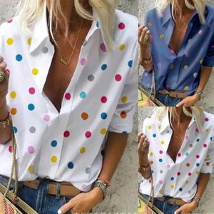 Femmes Mode Casual manches longues en vrac Dot Imprimer Chemises col en V profond d'été # T10G