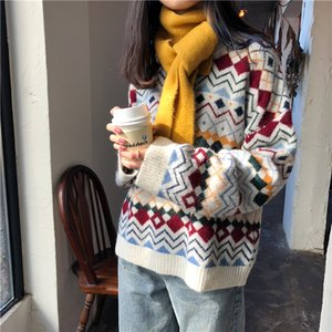 Winter Women Sweaters 2019 Casual Streetwear Loose O-neck Long Sleeve Pullovers Korean Chic Female Knitted Jumpers Crocheted Top