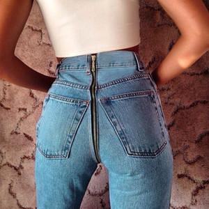 Black Pantalon Homme Women High Waist Jeans Back Hip Zipper Jeans Mujer Sexy Womens Skinny Push Up Pencil Denim Trousers Woman