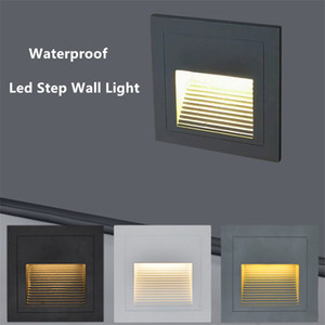 Outdoor 3W Led Stair Step Light Waterproof Recessed Wall Corner Light LED Footlight For Landscape Pathway stairway AC85~265V