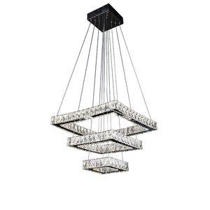 iluminação pingente de cristal dupla em aço inoxidável Espelho 3 quadrados LED lustre de cristal luzes de quarto sala de estar