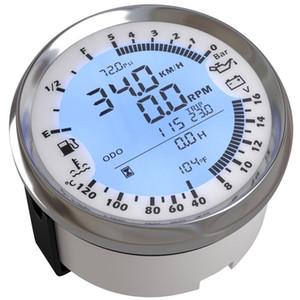 6-In-1 Multi Gauge Digital GPS Tachimetro 85mm Tach Fuel Gauge 8-16v Voltmetro 0-5bar Oil Pressure Meter 40-20 Water Temp Bianco