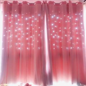 Pink Star oco cortinas Blackout para Sala Quarto Janela Cortina para Princess Room Blinds costurado com Branco Voile 1pc T200108