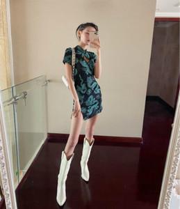 HIGAREDA 2020 중국 스타일 드래곤 인쇄 짧은 소매 차이나 드레스 우아한 빈티지 봄 여름 여성 드레스 연필