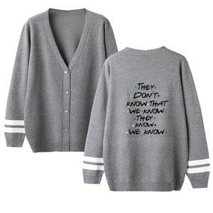 Amigos Cardigan para mujer otoño Desinger suéteres botón sólido de color Pareja Mujer Ropa de impresión de letras del estilo de la moda ropa informal
