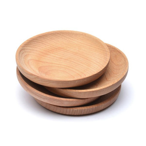 12cm ecológico Snack-placa redonda de la torta de frutas de madera Plato Postre de habitaciones Servicio de Partido Junta bandeja de madera Sushi Vajilla
