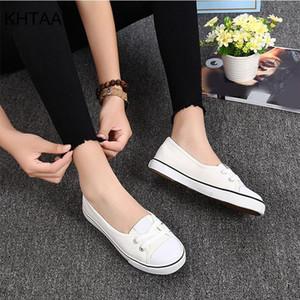 Shallow KHTAA Women de la lona vulcanizada plana cómoda de la manera con cordones de zapatos ocasionales respirables blanco negro Y200424 femenina