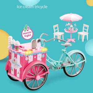 Mini Toy Candy Ice-cream Triciclo de tres ruedas al aire libre Accesorios de música ligera Muchos juguetes de compras infantiles divertidos e interesantes