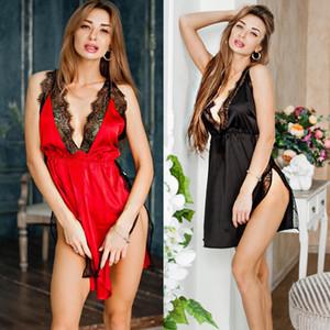 Sexy Wäsche-Frauen-Silk Spitze-Robe-Kleid Babydoll Nachthemd Nachthemd Nachtwäsche