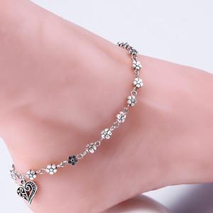 New Retro Beach Tibetischen silber fußkettchen für frauen Einzigartige Sexy Einfache Perlen Silber Kette Fußkettchen Knöchel Fuß Schmuck