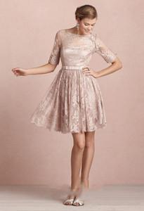 Country Style 2020 Новые розовые кружевные короткие невесты платья выпускного вечера Дешевые Jewel Backless Длина колена Casual