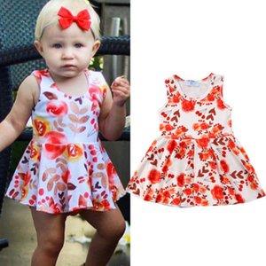 2018 nuovo di estate arancione Flora Girl Dress Bambini Compleanno abito da sposa dei bambini delle neonate casual Sleevless Vestito estivo Abiti