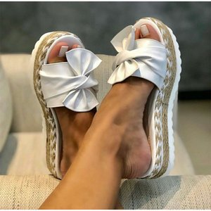 Slippers Women Slides Bow Summer Sandals Bow-Knot Slippers Thick Soles Flat Platform Female Floral Beach Shoes Flip Flops