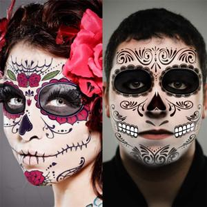 La decoración de Halloween de la cara etiquetas engomadas del tatuaje del maquillaje facial etiqueta engomada del día de la cara muerta del cráneo máscara a prueba de agua de la mascarada tatuaje JK1909