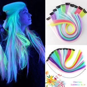 20 inch Luminous Clip In One Pieces Hair Extensions Straight Ombre Fluorescent green pink white Extension Hair Women Long Synthetic Hair