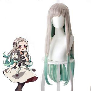 Limite-WC Hanako-kun Nene Yashiro peruca de 80 cm de comprimento sintética Cabelo Liso para Anime Costume Party Wig Grey Gradient Verde