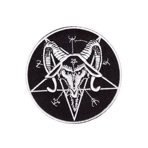 Exquisite computer embroidery SATAN pentagram baphomet black metal iron-on patch embroidered