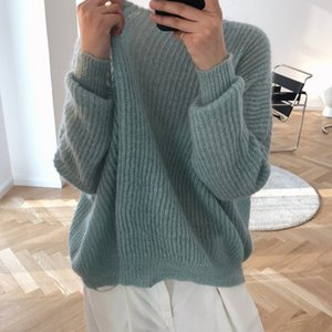 Early Autumn New Loose Comfortable Lazy Mohair Round Neck Long Sleeve Sweater Wide Fashion Casual All-match Knitted Top Female