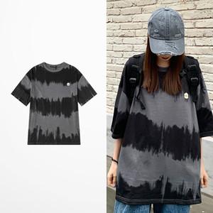 Ins Summer Style Tide T Shirt Men Imprimer Vêtements de loisirs T-shirts hommes et les femmes 100% coton gris profond à manches courtes