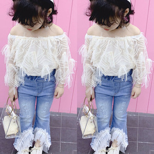 Toddler Kids Ropa Set Baby Girl Lace Off Hombro Camiseta Tops Destruido Ripped Jeans Pantalones Flare Niños Trajes 2 Unids Caliente