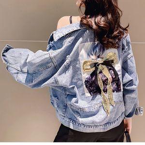 Yu Kube Hoel Bomber Ausgefranste Jeansjacken-Hieb-Hülsen-Bogen-Jeans-Jacke beiläufige Niet Dekoration Outwear Jaqueta Jacke Feminina