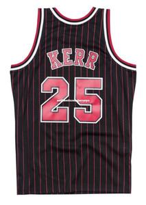 Barato personalizado Steve Kerr # 25 Mitchell Ness 95-96 Jersey-Pinstripe Retro Mens XS-6XL camisetas de baloncesto cosidas Ncaa