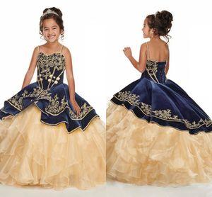 Azul marino con oro bordado de las muchachas del desfile de los vestidos de capa Champagne Volantes lindo vestidos de niña tirante de espagueti vestido de fiesta del niño