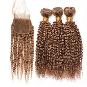 Honey Blonde Versaute Curly Menschenhaar-Webart Bundles mit Closure Reiner # 27 verworrenen lockigen brasilianische Virgin Hair 3 Bundles mit 4 * 4-Spitze-Schliessen