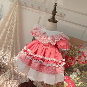 New Verão roupa da menina Crianças elegante vestido de manga curta Pet Pan Collar Lace Ruffles plissadas Designs Princesa Exquisite Vestidos