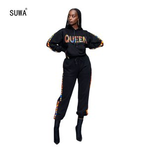 Leisure Letter Print 2 Piece Set Hooded Collar Long Sleeve Pullover Top And Matching Drawstirng Pocket Trousers Tracksuit T200606