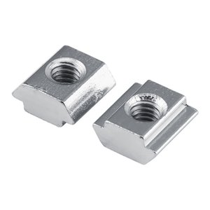 50Pcs / set Écrou T-rainure Écrou coulissant en acier au carbone recouvert de nickel M4 / M5 en option pour fente de 6 mm en aluminium Profil Accessoires