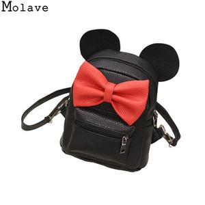 New Mickey Rucksack PU-Leder weibliche Mini-Tasche Damen-Rucksack süßer Bogen Teen Girl Rucksäcke Schulranzen Mochila Feminina Dec15