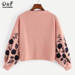 Dotfashion Rosa Sleeve Blumen Tropfen Schulter-Stickerei Crop Pullover Frauen-beiläufige Herbst Loser Rollkragen Kleidung Sweatshirt