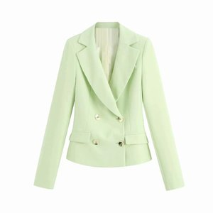 Coat women's early autumn new style fashion fruit green suit collar double breasted long-sleeved temperament suit jacket women