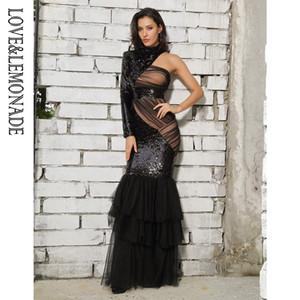 Lovelemonade Black Cut Out Mesh Stitching Fishtail Shape Sequins Long Dress Lm81485 Q190517
