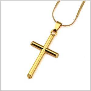 Mens Charm Cross Pendant Chokers Necklaces Fashion Hip Hop Jewelry 18K Gold Plated 45cm Long Chain Punk Trendy Necklace Men Gift