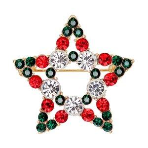 1 PC de la aleación ahueca hacia fuera el regalo de Navidad de la estrella del Rhinestone broche para niñas Las mujeres forman arcos de Navidad