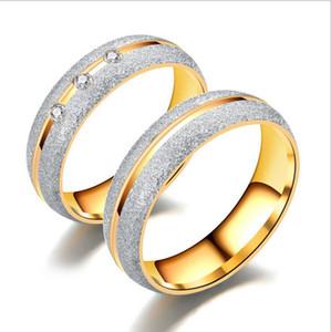 Пара Кольцо из нержавеющей сталь Pearl Песок Кристалл Кольца для влюбленных Простых элегантной Годовщины свадьбы женщин ювелирных изделий золота Ringen