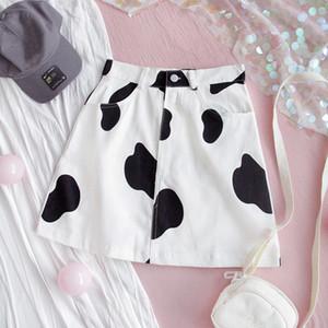 2020 Summer impresión de la vaca de las mujeres de la falda de Harajuku de la historieta Micro falda de cintura alta Sexy Minifalda Short Jeans Francés