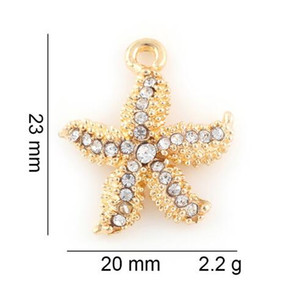 20PCS lot 23x20mm (Gold,Silver Color) Starfish Hang Pendant Charms Fit For Glass Magnetic Memory Floating Locket