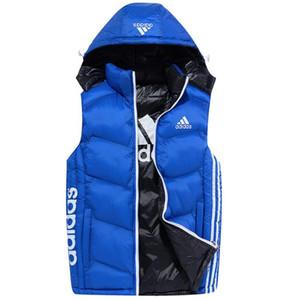 Novas Mens de Down Coletes para Revestimento com Jacket Etiquetas Hat destacável mangas Outdoor AB vestir roupas Parkas Homens marca de moda Vest Inverno